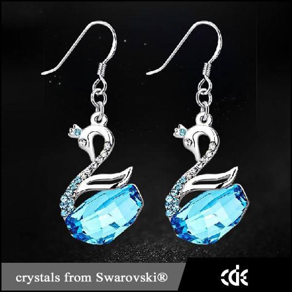 Cristaux de Swarovski bijoux pour femmes mode boucle d'oreille Swan Dangle boucles d'oreilles