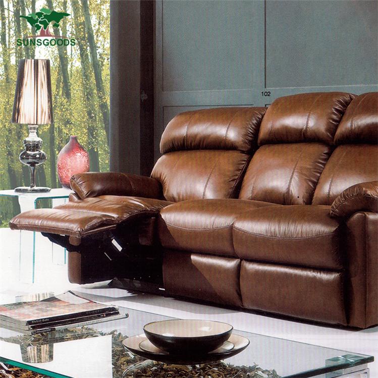 Fuente de la fábrica sofá reclinable de cuero tan, marrón claro muebles de cuero