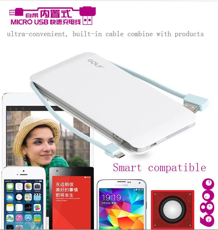 리튬- 폴리머 슬림 휴대 전화 충전기 고무 오일 houding 5000 마판 빌드- 케이블 휴대용 휴대 전화 충전기 스마트 폰