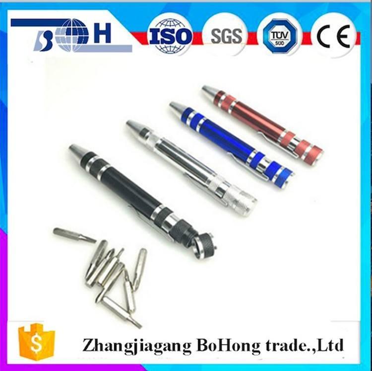 Forma di penna 8 in 1 multi lega di alluminio set di cacciaviti dalla cina