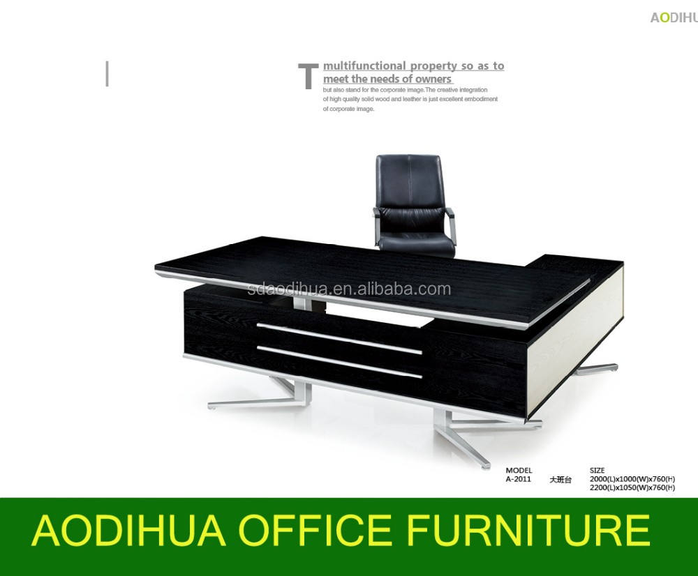جيدة-- بيع a-2011 اللون الأسود الحديثة طاولة خشب مع الساق المعدنية