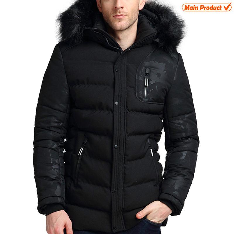 продажа черный камуфляж на меховой подкладке пользовательские зимние мужские подкладка куртка меховая куртка с капюшоном Замена