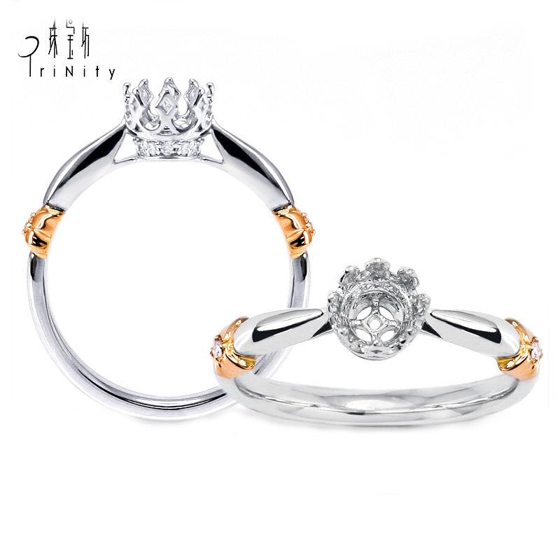 Handgefertigte Vintage 18K Rose und Weißgold zwei Tone weiße Runde Brilliant Cut 0,50 Karat Diamant Solitaire Semi Mount Ring