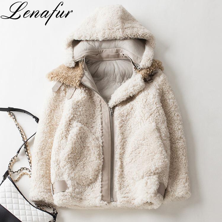 Mùa đông Da Cừu Lông Cừu, Cừu Da Lông Thú Đôi Mặt Áo Khoác Da Coat Đối Với Phụ Nữ