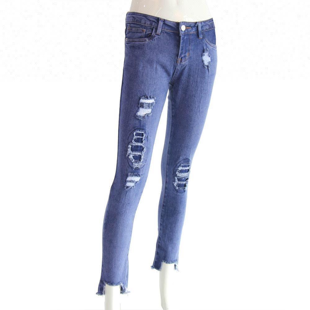 Venta caliente de la manera señoras atractivas al por mayor nuevos diseños ripped jean mujer pantalones vaqueros flacos