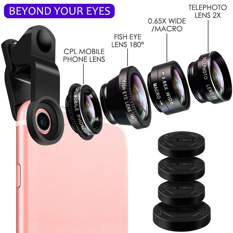 2018 Новый универсальный зажим 5in1 объектив 180 градусов Рыбий глаз CPL макро 0.65X широкоугольный <span class=keywords><strong>2X</strong></span> телефото объектив камеры