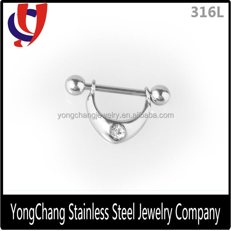 In argento personalizzato V- a forma di capezzolo <span class=keywords><strong>bilanciere</strong></span> anelli con un bianco perla per il commercio all'ingrosso