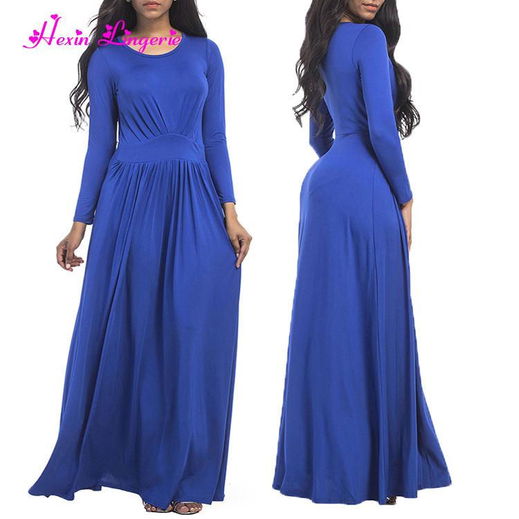 Новое прибытие Королевский синий с круглым вырезом и длинными рукавами Элегантный мусульманин длинное платье