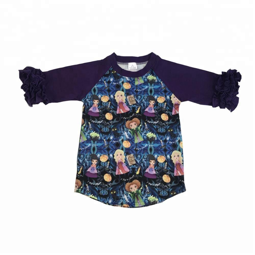 Высокого качества для девочек бутик осенняя одежда Дети Хэллоуин реглан оптовая продажа для девочек с оборками и рубашки