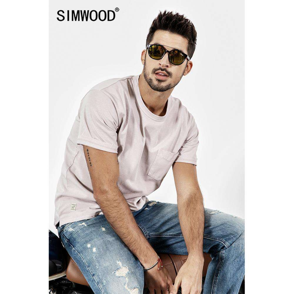 SIMWOOD 2020 New Summer t shirt Men Short Sleeve O-Neck Print T-shirt Casual Tops Vintage Broken Brand Tees Male camiseta 190071