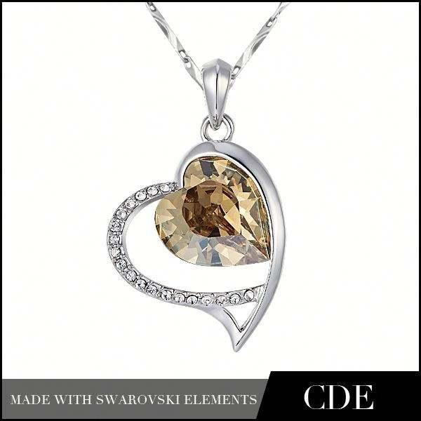 feito com elementos swarovski quente novo 2015 jóias pingente de coração