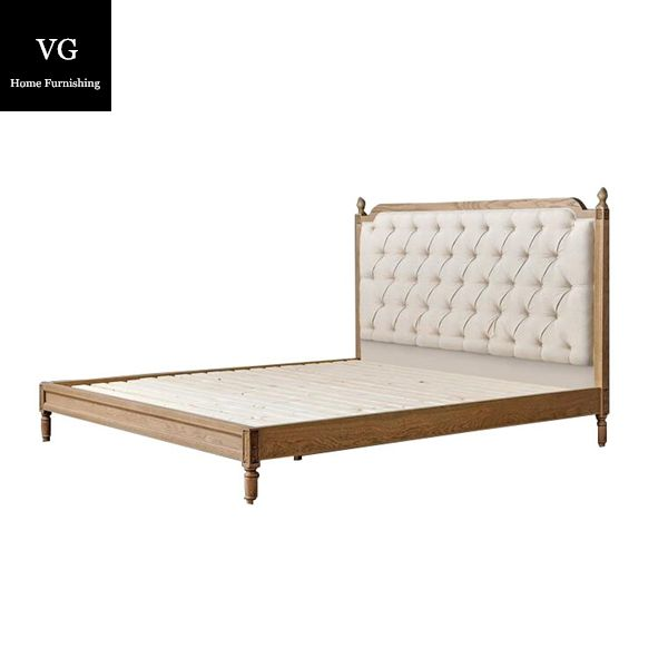 Bajo precio antiguo cama de madera sólida para el hotel y el hogar muebles rey tamaño cama de madera antigua