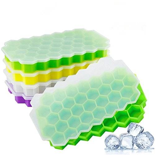 BPA Free 37 cavity Honeycomb Silicone Ice Cube Container Maker Mini Silicone Ice Cube Tray with lid