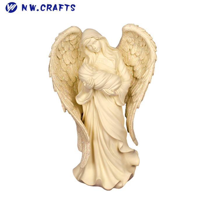 Оптовая продажа религиозных святое семейство <span class=keywords><strong>ремесел</strong></span> смолы ангел с ребенком статуя