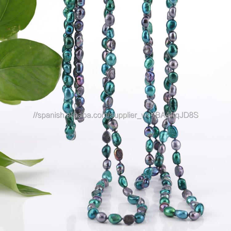Fábrica al por mayor verde Tahitian collar de perlas precio valor Reino Unido agua dulce anudadas a mano