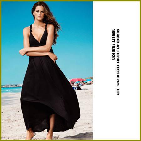 чистый цвет v шеи спинки длинное платье летом