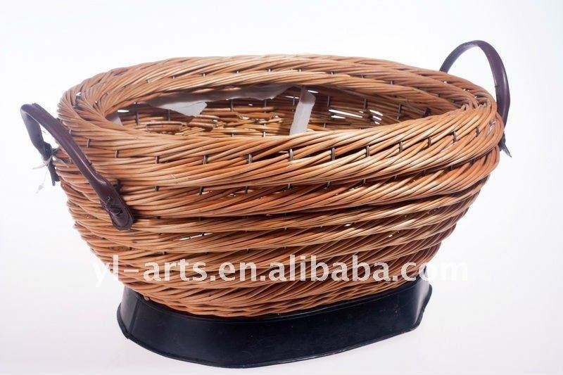 元の楕円形のヤナギの柳細工の収納用の箱