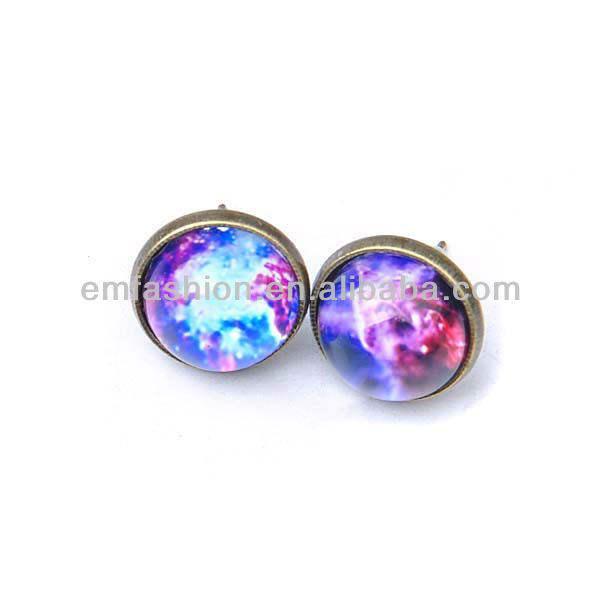 2013 moda projeto novo galaxy print gem stud brinco