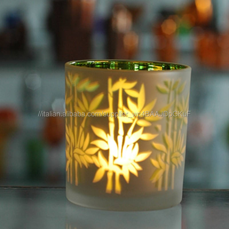 Colored Glass <span class=keywords><strong>Tealight</strong></span> Candela Tazza con elettrolitico design di albero