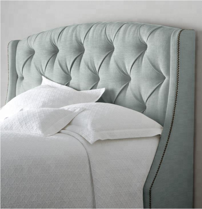 Последние двуспальная кровать дизайн винил/ткань обивки мягкой кровать для дома