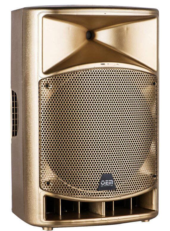 Luxo cor dourada portátil 15 polegada ativo de plástico caixa de som