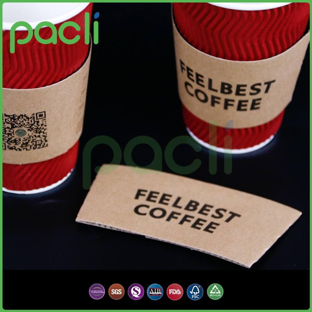 Горячие продажи индивидуальные крафт-бумага чашки кофе рукава