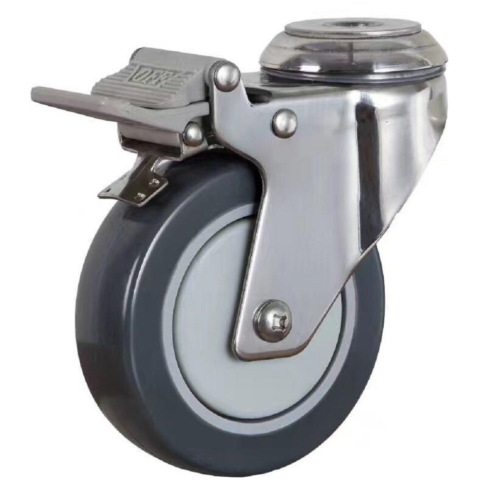 High Quality Swivel Bolt Hole PU Tire Furniture Stainless Steel Caster With Lock
