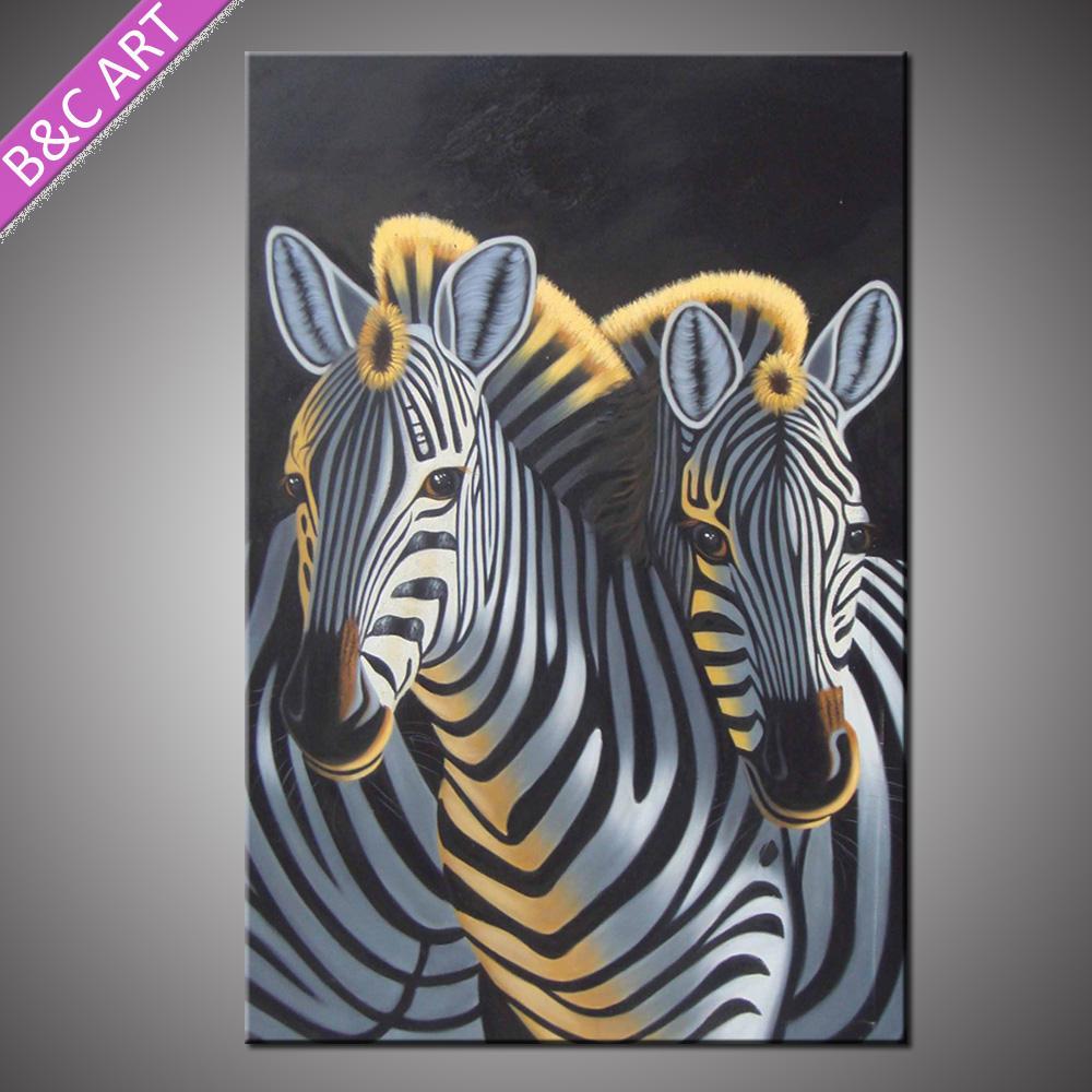 Tela hecha a mano nuevo diseño de decoración de la pared pintura al óleo de la cebra
