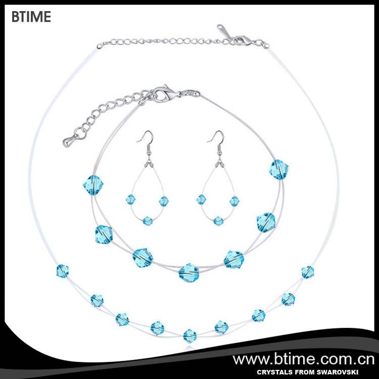 2017 nouveau design cristal de bijoux de mode/transparet poissons chaîne ensemble de bijoux cristaux de swarovski