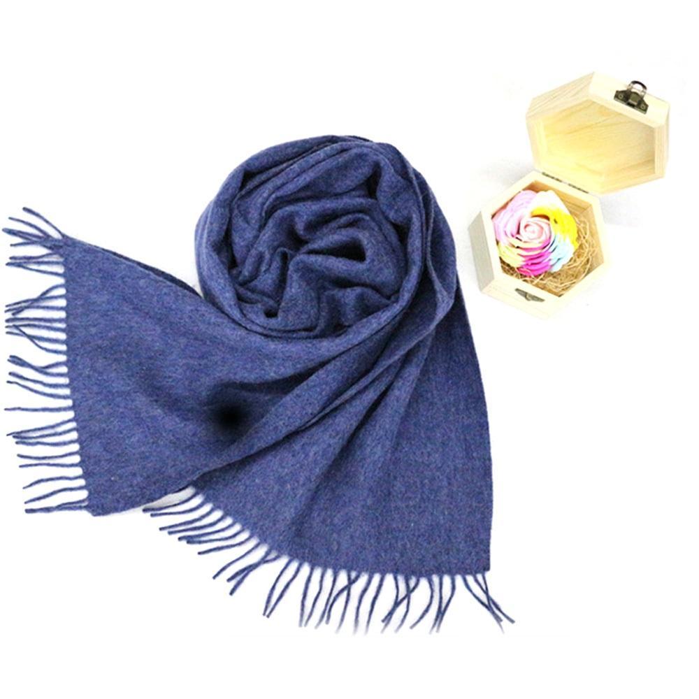 Venta caliente de Mongolia Interior personalizado bufandas OEM barato clásico llano azul bufanda de lana