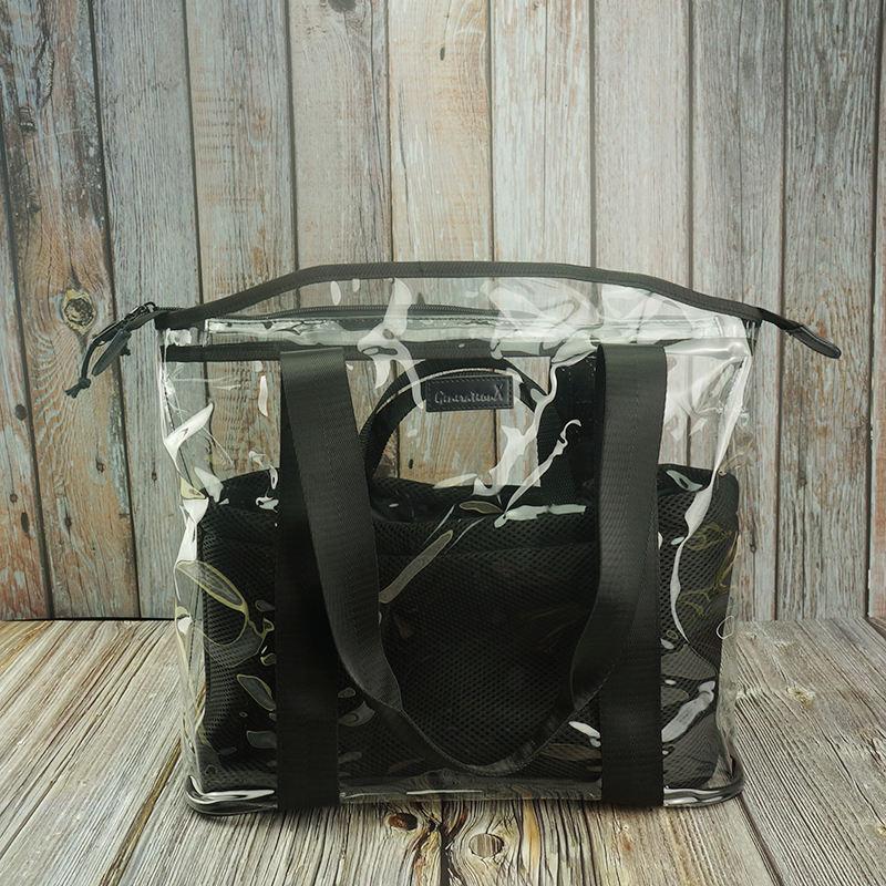 2019 de moda de las mujeres de dos en una bolsa transparente de PVC multipropósito mamá pañal bolso Casual bolsa de playa