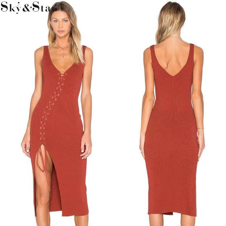 Alta calidad ojal dividido diseño rojo atractivo sin mangas mujeres bodycon vestido
