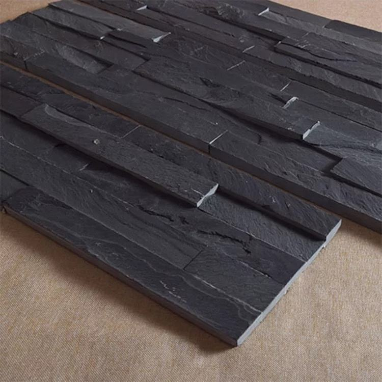 Decorative black ledge stacked culture wall cladding slate stone
