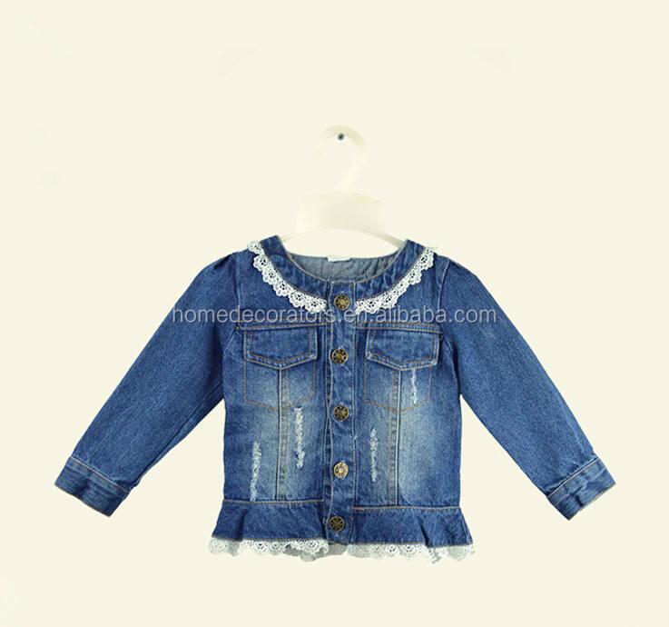 2016 Дети Джинсы джинсовые Куртки с кружевом рябить