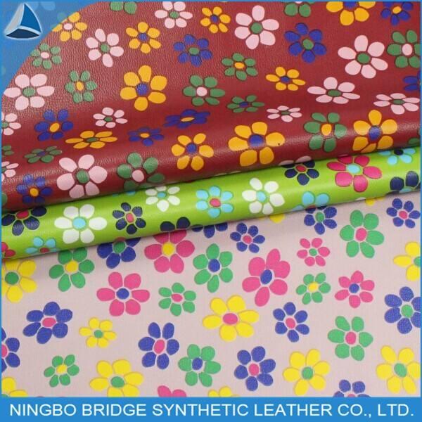 1403004 - 5078 - 2 populaire bonne qualité échantillon gratuit disponibles PU fleur impression sur le cuir