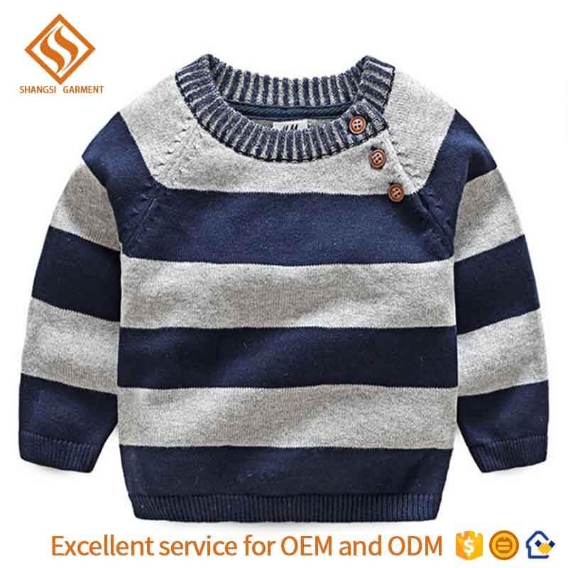 Маленький ребенок пуловеры для мальчиков свитер вязать полосы шаблон кнопки осень