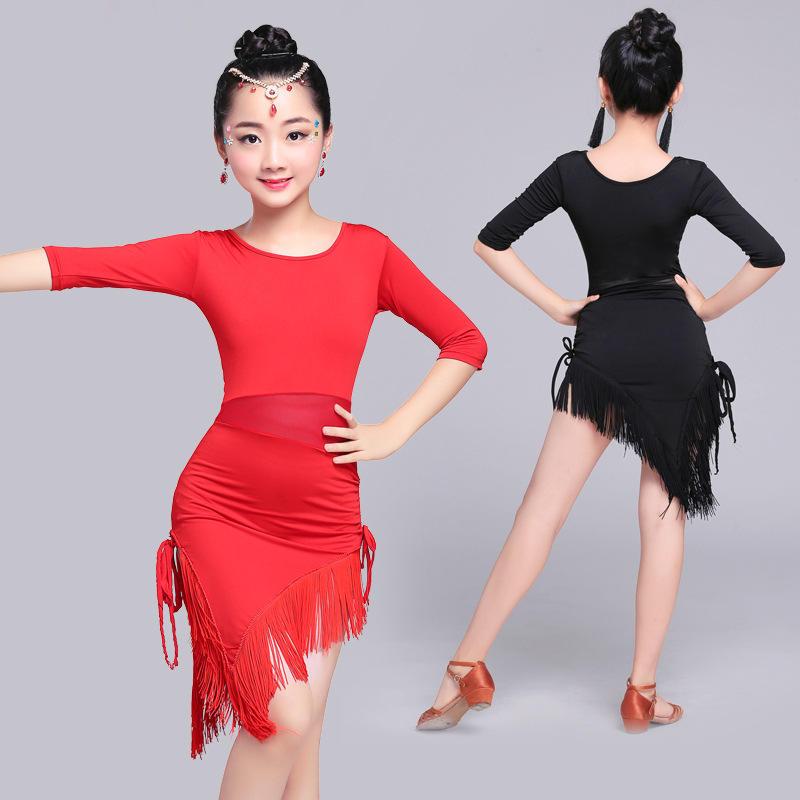 卸売子供ブティック服新しい到着色子ラテン実行スカート子供ステージ摩耗女の子ダンス