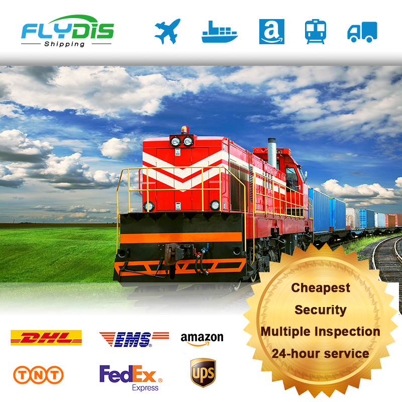 Cheapest price transport train railway freight forwarder shipping door to door service from China to fba europe germany uk