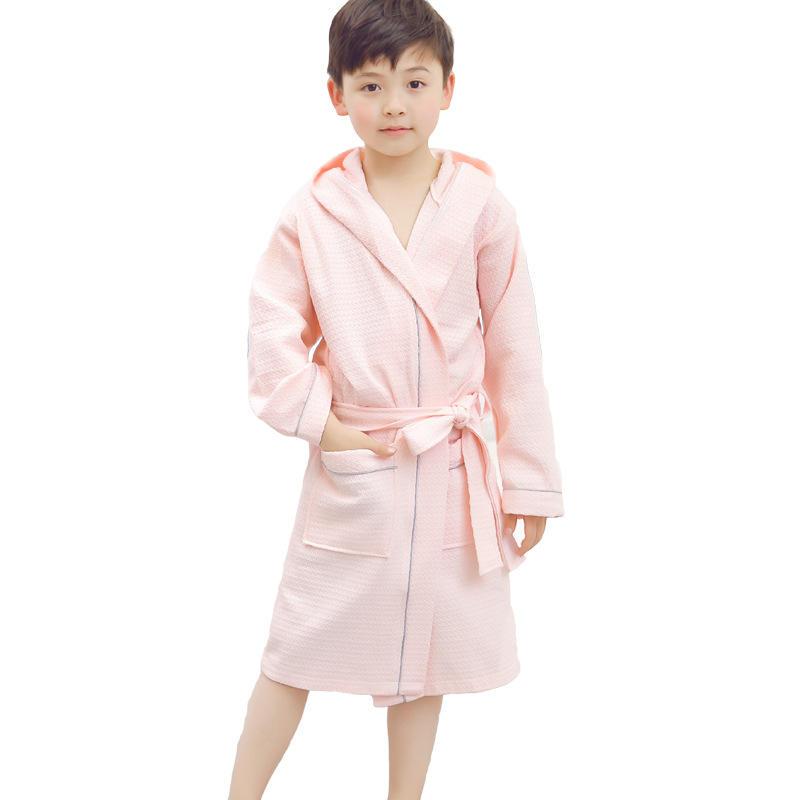De los niños de moda de vestir waffle tejido Toalla de baño abrigo