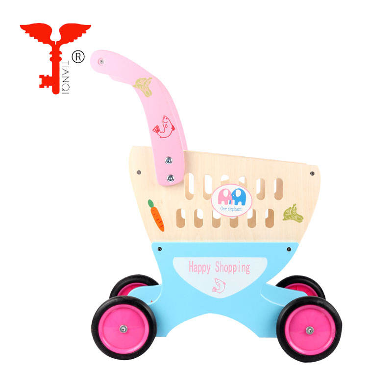Child Pink wooden supermarket cart play set toys for the kids pretend play educational toys