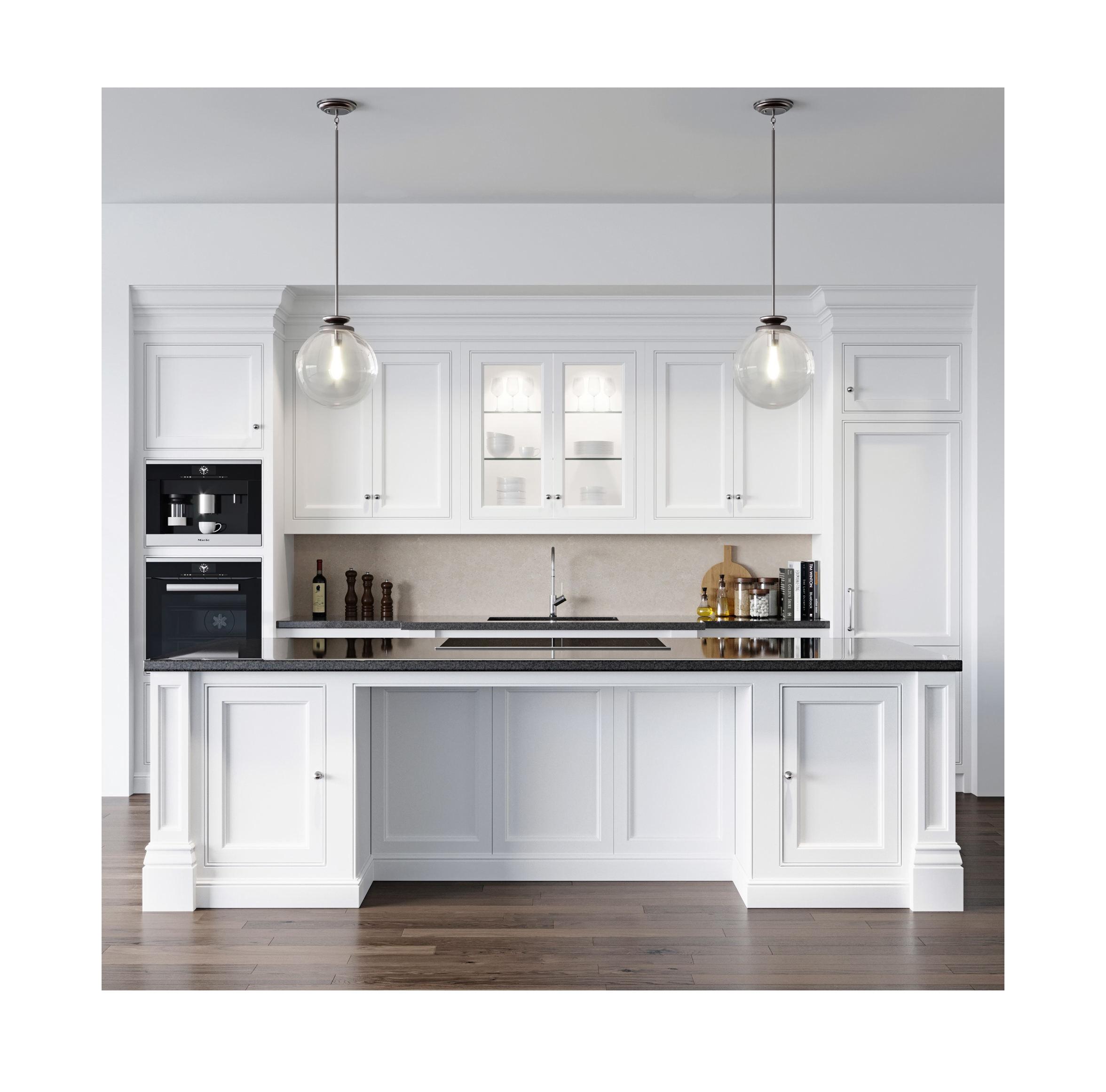 Real de madeira alegre branco pintado antigo estilo Europeu armário de cozinha de madeira