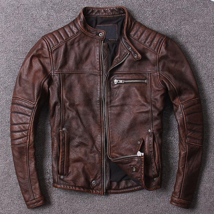 Dalian Donice мотоциклетная Байкерская коричневая потертая винтажная модная кожаная куртка для мужчин