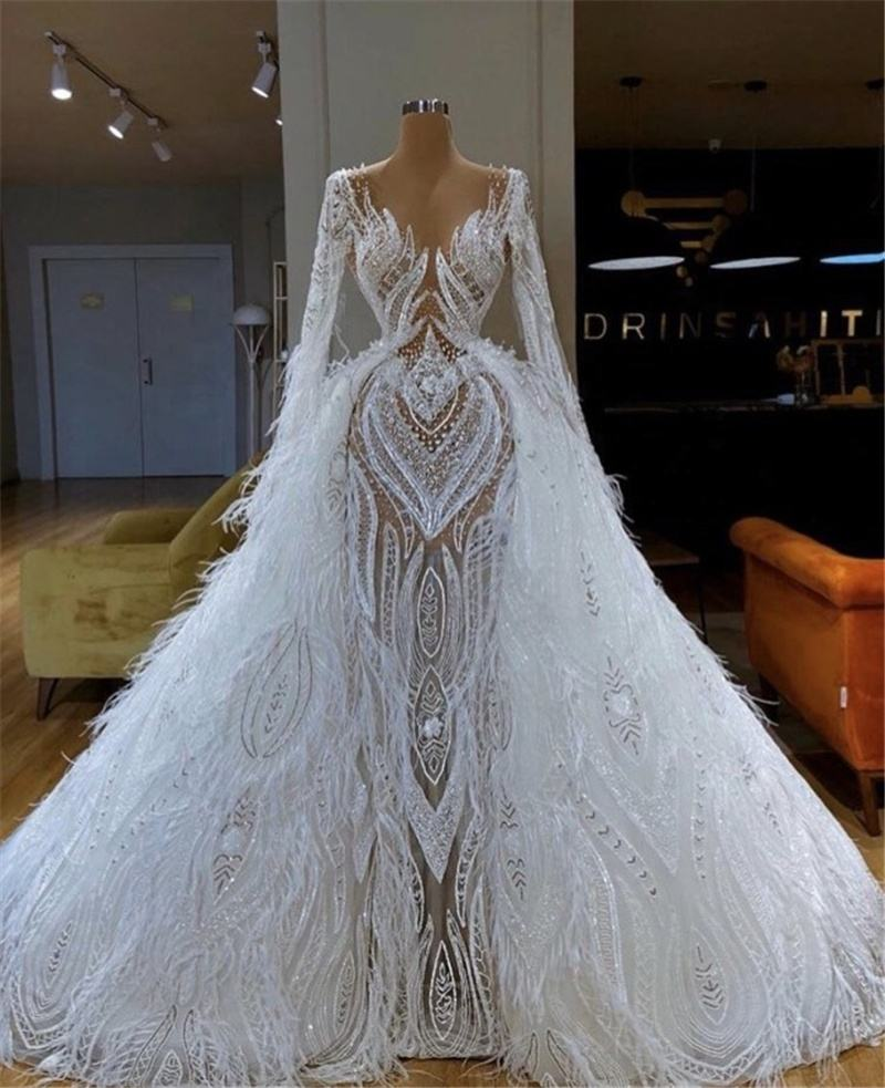 High-end Long Sleeve Feather Wedding Dresses Dubai Beading Wedding Gowns With Detachable Tail