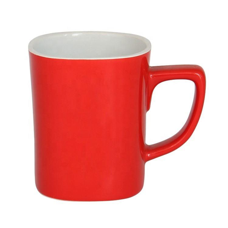Promotion 9oz en céramique rouge nescafé tasse personnalisé imprimé tasse de café en céramique