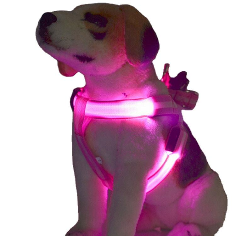 2020 Wholesale Custom Night Safety Adjustable LED Pet harness collar USB Rechargeable Glowing Flashing led dog vest harness