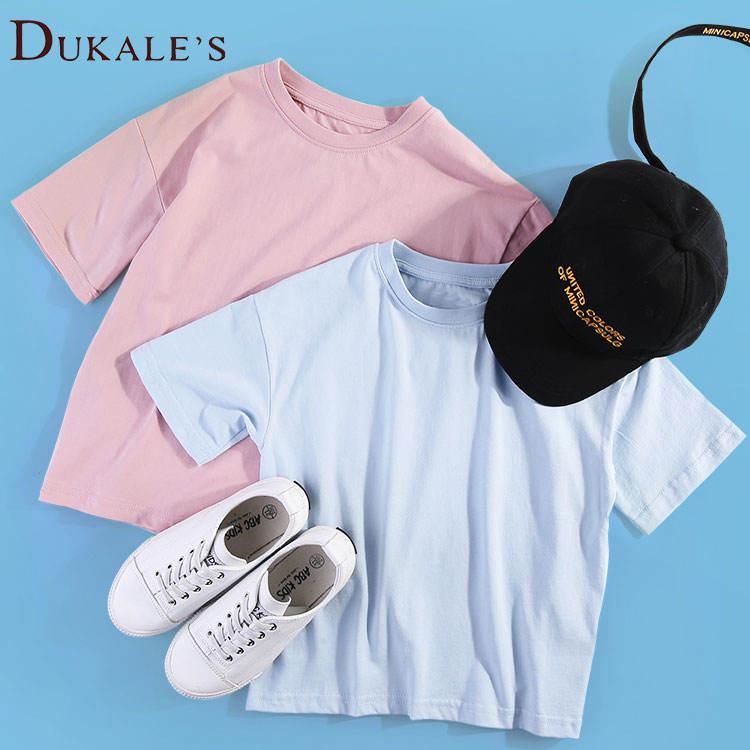 короткими рукавами и круглым вырезом для мальчиков футболки Детские футболки для девочек Однотонные детские футболки