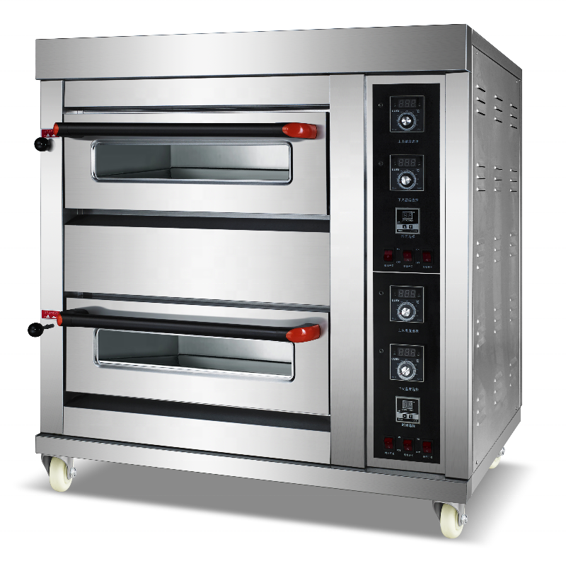 Restaurant Ovens And Bakery Equipment 2-Layer 4-Tray Industrial Bread Baking Ovens / gas pizza ofen