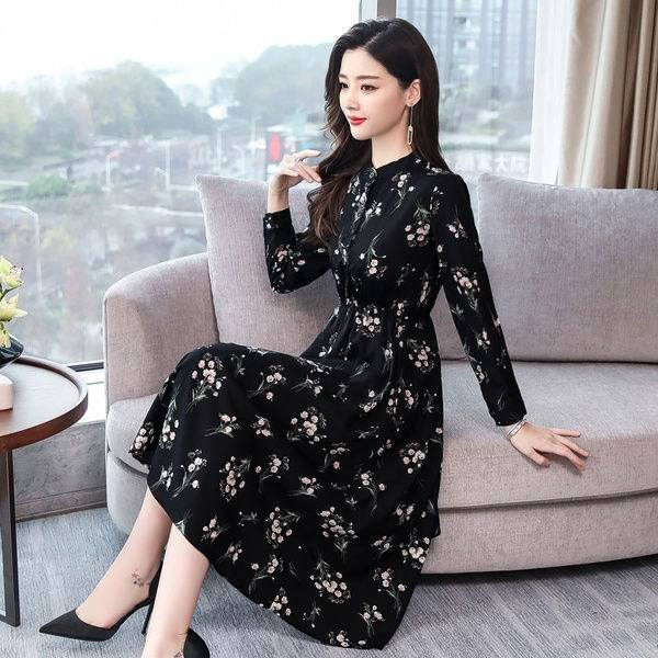 New Design Women's Spring and Autumn Dress Korean Long Sleeve Medium Length Skirt Floral Chiffon Dress