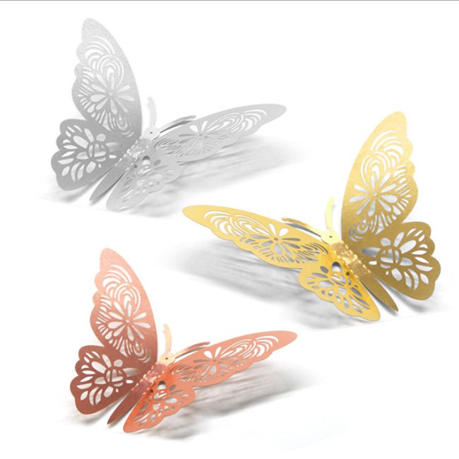 Christmas Hollow 3D Simulation Butterfly Wall Sticker Xmas Tree Ornaments Pendant Decor New Year Wedding Photo Wall Decoration