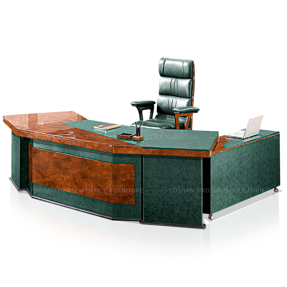 HAOSEN 6835 L-shaped ceo office room computer desk glossy top table and chairs executive desk factory supply